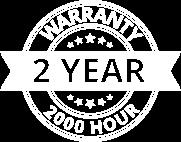 2 Year 2000 Hour Warranty